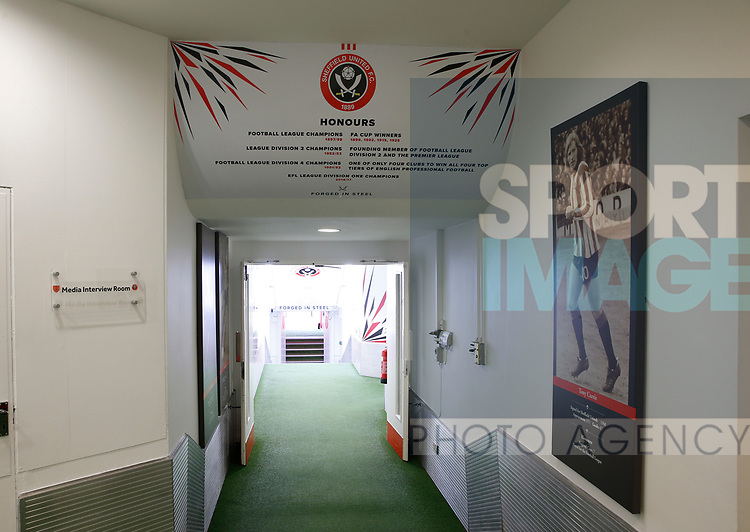 Players entrance during the English Championship League match at Bramall Lane Stadium, Sheffield. Picture date: August 5th 2017. Pic credit should read: Simon Bellis/Sportimage