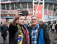 Wales fans taking a selfie with the stadium in the background <br /> <br /> Photographer Simon King/CameraSport<br /> <br /> International Rugby Union - 2017 Under Armour Series Autumn Internationals - Wales v Australia - Saturday 11th November 2017 - Principality Stadium - Cardiff<br /> <br /> World Copyright &copy; 2017 CameraSport. All rights reserved. 43 Linden Ave. Countesthorpe. Leicester. England. LE8 5PG - Tel: +44 (0) 116 277 4147 - admin@camerasport.com - www.camerasport.com