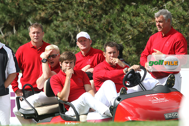 Team Great Britain and Ireland watch on as their team mates finish up their matches on the Final Day of the 2011 Vivendi Seve Trophy at Golf De Saint-Nom-La-Breteche, France...Photo Golffile/Jenny Matthews.(Photo credit should read Jenny Matthews www.golffile.ie)....This Picture has been sent you under the conditions enclosed by:.Newsfile Ltd..The Studio,.Millmount Abbey,.Drogheda,.Co Meath..Ireland..Tel: +353(0)41-9871240.Fax: +353(0)41-9871260.GSM: +353(0)86-2500958.email: pictures@newsfile.ie.www.newsfile.ie.