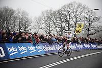race winner Mathieu Van der Poel (NLD/BKCP-Corendon) crossing the finish line<br /> <br /> Grand Prix Adrie van der Poel, Hoogerheide 2016<br /> UCI CX World Cup