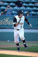 Zack Domingues (2) of the Long Beach State Dirtbags runs to first base during a game against the Arizona State Sun Devils at Blair Field on February 27, 2016 in Long Beach, California. Long Beach State defeated Arizona State, 5-2. (Larry Goren/Four Seam Images)