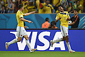 (L-R) James Rodriguez, Juan Cuadrado (COL),<br /> JUNE 28, 2014 - Football / Soccer :<br /> James Rodriguez of Colombia celebrates with his teammate Juan Cuadrado who made the assist after scoring their second goal during the FIFA World Cup Brazil 2014 Round of 16 match between Colombia 2-0 Uruguay at Estadio do Maracana in Rio De Janeiro, Brazil. (Photo by SONG Seak-In/AFLO)