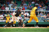 Birmingham Barons catcher Adrian Nieto (6) tags Sharif Othman (6) to complete the strikeout during the 20th Annual Rickwood Classic Game against the Jacksonville Suns on May 27, 2015 at Rickwood Field in Birmingham, Alabama.  Jacksonville defeated Birmingham by the score of 8-2 at the countries oldest ballpark, Rickwood opened in 1910 and has been most notably the home of the Birmingham Barons of the Southern League and Birmingham Black Barons of the Negro League.  (Mike Janes/Four Seam Images)