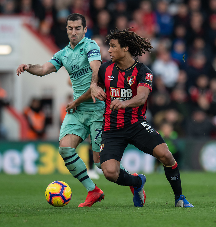 Bournemouth's Nathan Ake (right) battles with  Arsenal's Henrikh Mkhitaryan (left) <br /> <br /> Photographer David Horton/CameraSport<br /> <br /> The Premier League - Bournemouth v Arsenal - Sunday 25th November 2018 - Vitality Stadium - Bournemouth<br /> <br /> World Copyright © 2018 CameraSport. All rights reserved. 43 Linden Ave. Countesthorpe. Leicester. England. LE8 5PG - Tel: +44 (0) 116 277 4147 - admin@camerasport.com - www.camerasport.com