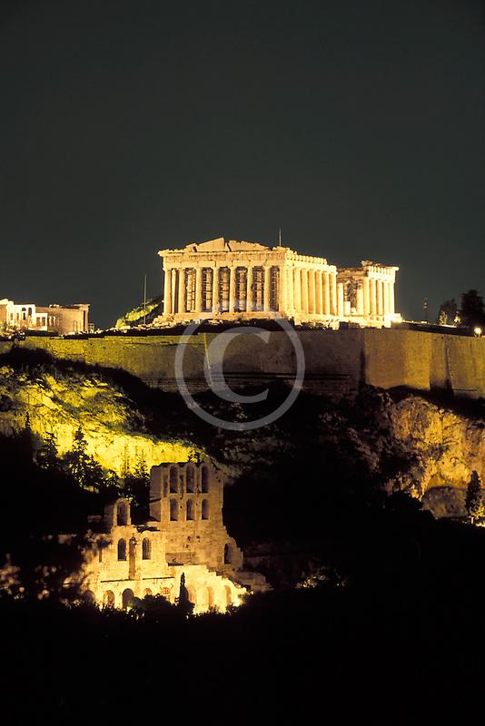 Greece, Athens, Acropolis, Parthenon at night from Filopapou Hill