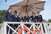 Moscow, Russia, 13 th July, 2016, Tennis,  Davis Cup Russia-Netherlands, Official Diner at Royal Bar , Dutch team posing on the lifeguard post, ltr: captain Jan Siemerink, Robin Haase, Wesley Koolhof , Tim van Rijthoven,Thiemo de Bakker and Matwe Middelkoop, Robin Haase is puting on a diving mask and snorkel for the joke.<br /> Photo: Henk Koster/tennisimages.com