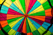 Inside the envelope of a hot air balloon at Bristol Balloon Fiesta