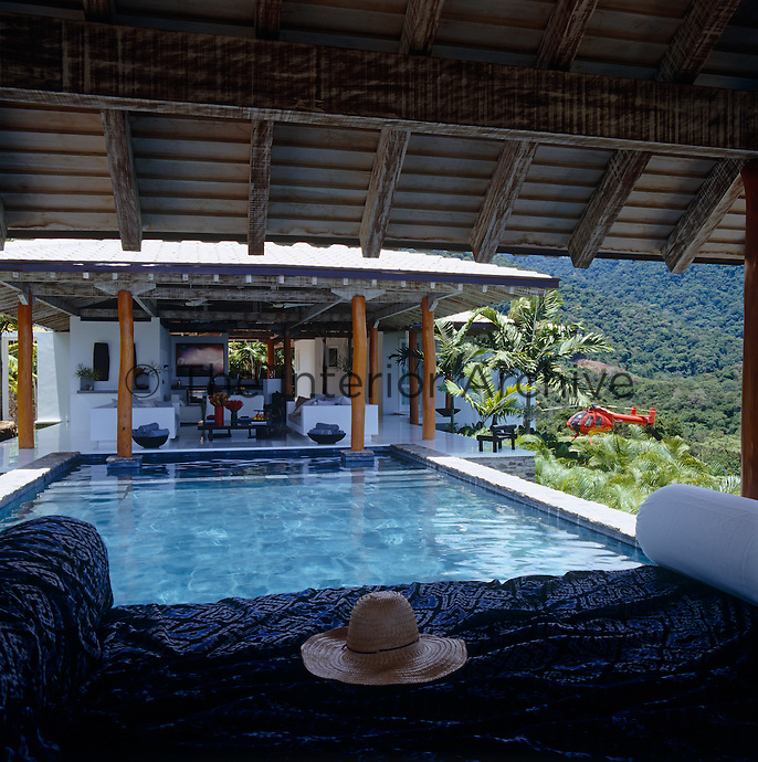 The gazebo in the pool is a perfect place to relax and has a fantastic view over the pool towards the main house