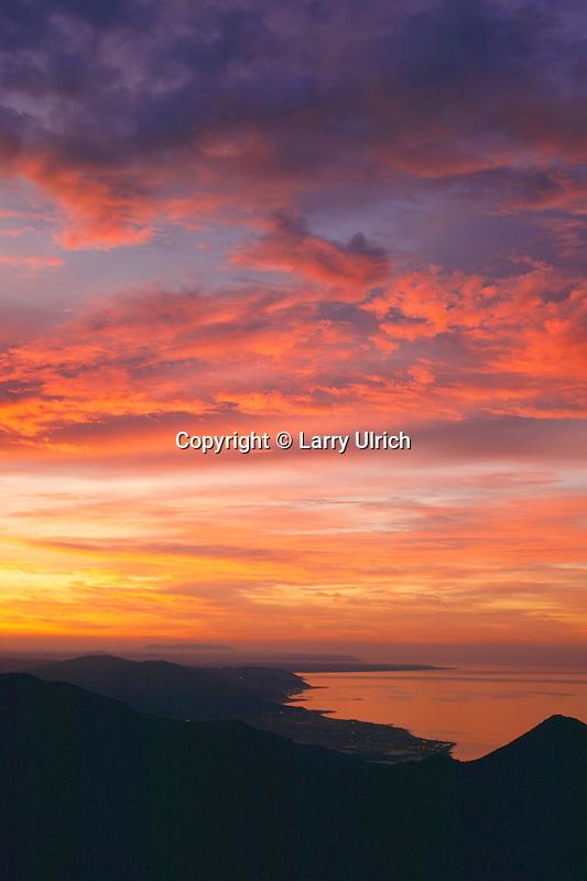 Montecito Peak and Ventura County Coast<br />   from Santa Ynez Mountains<br /> Los Padres National Forest<br /> Santa Barbara County,  California