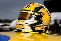 Sept. 1, 2013; Clermont, IN, USA: Detailed view of the helmet of NHRA pro stock driver Jeg Coughlin Jr during qualifying for the US Nationals at Lucas Oil Raceway. Mandatory Credit: Mark J. Rebilas-
