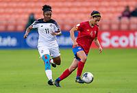 HOUSTON, TX - JANUARY 28: Mariana Benavides #4 of Costa Rica dribbles during a game between Costa Rica and Panama at BBVA Stadium on January 28, 2020 in Houston, Texas.