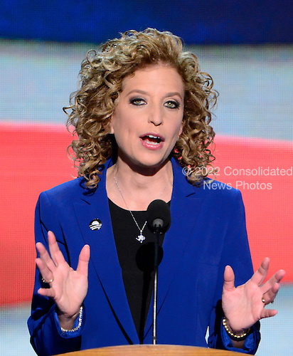 United States Representative Debbie Wasserman Schultz (Democrat of Florida), Chairman of the Democratic National Committee makes remarks at the 2012 Democratic National Convention in Charlotte, North Carolina on Thursday, September 6, 2012.  .Credit: Ron Sachs / CNP.(RESTRICTION: NO New York or New Jersey Newspapers or newspapers within a 75 mile radius of New York City)