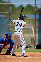 GCL Marlins center fielder Connor Scott (24) at bat during a game against the GCL Mets on August 3, 2018 at St. Lucie Sports Complex in Port St. Lucie, Florida.  GCL Mets defeated GCL Marlins 3-2.  (Mike Janes/Four Seam Images)