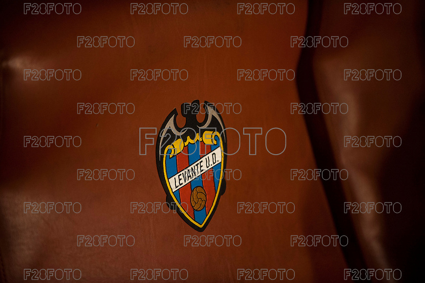 VALENCIA, SPAIN - MARCH 2: Levante shield during BBVA League match between VLevante U.D. and R. Madrid at Ciudad de Valencia Stadium on March 2, 2015 in Valencia, Spain