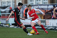 Conor McAleny of Fleetwood Town (right) during the Sky Bet League 1 match between Fleetwood Town and MK Dons at Highbury Stadium, Fleetwood, England on 24 February 2018. Photo by David Horn / PRiME Media Images