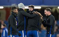 Alvaro Morata of Chelsea & teammates joke pre match during the Premier League match between Chelsea and West Bromwich Albion at Stamford Bridge, London, England on 12 February 2018. Photo by Andy Rowland.