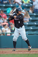 Carlos Perez (8) of the Kannapolis Intimidators at bat against the Hickory Crawdads at L.P. Frans Stadium on July 20, 2018 in Hickory, North Carolina. The Crawdads defeated the Intimidators 4-1. (Brian Westerholt/Four Seam Images)