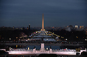 Dawn breaks on the Capitol Mall with the Washington Monument in the distance as the United States prepares for the inauguration of Donald Trump at the Capitol on January 20, 2017 in Washington, D.C.  Trump becomes the 45th President of the United States.     <br /> Credit: Pat Benic / Pool via CNP