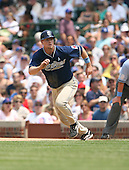 Chase Headley of the San Diego Padres on the base baths after collecting his first major league hit vs. the Chicago Cubs: June 18th, 2007 at Wrigley Field in Chicago, IL.  Photo copyright Mike Janes Photography 2007.