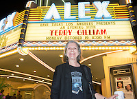 """Special Collections Librarian and College Archivist Dale Stieber.<br /> Live Talks Los Angeles presents """"An Evening with Terry Gilliam"""" at the Alex Theater in Glendale, Oct. 19, 2015. Gilliam '62 discussed his 'Pre-posthumous Memoir' """"Gilliamesque"""" with host Sam Rubin '82.<br /> Gilliam is a screenwriter, director, animator, actor, and member of the Monty Python comedy troupe.<br /> (Photo by Marc Campos, Occidental College Photographer)"""