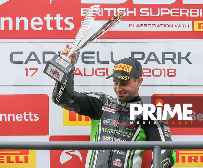 Leon HASLAM (91) of the BSB JG Speedfit Kawasaki race team  celebrates after winning Race One at the Bennetts British Superbike Championship Round BSB Round 8 (Sunday) at Cadwell Park Circuit, Louth, England on 19 August 2018. Photo by David Horn.