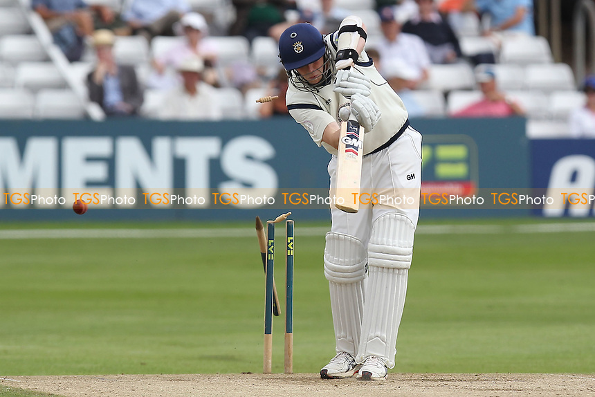 David Balcombe of Hampshire is bowled out by Graham Napier - Essex CCC vs  Hampshire CCC - LV County Championship Division Two Cricket at the Ford County Ground, Chelmsford, Essex - 21/07/12 - MANDATORY CREDIT: Gavin Ellis/TGSPHOTO - Self billing applies where appropriate - 0845 094 6026 - contact@tgsphoto.co.uk - NO UNPAID USE.
