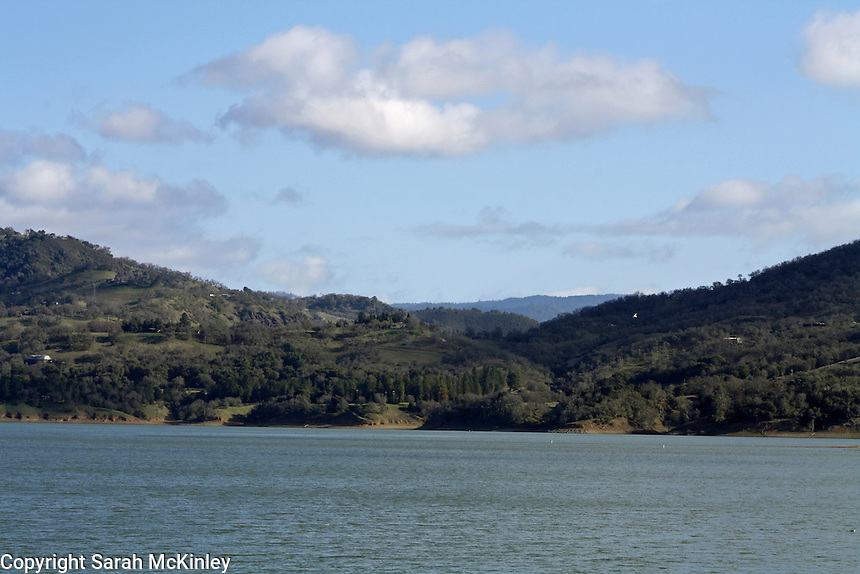 A view of Lake Mendocino from the north in late winter.
