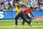10th February 2018, Melbourne Cricket Ground, Melbourne, Australia; International Twenty20 Cricket, Australia versus England;  Marcus Stoinis of Australia smiles after nearly claiming a wicket