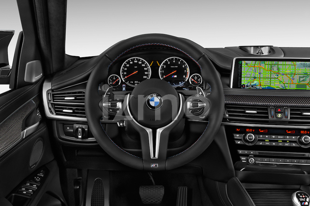 Car pictures of steering wheel view of a 2018 BMW X6 M 4 Door SUV