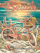 Dona Gelsinger, LANDSCAPES, LANDSCHAFTEN, PAISAJES, paintings+++++,USGE1555A,#L# ,bicycles, ,seaside, ,everyday