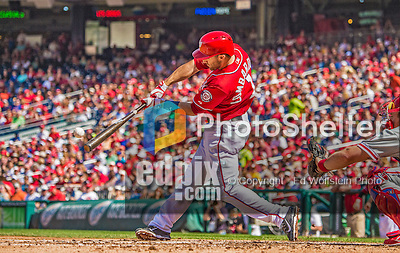 15 September 2013: Washington Nationals infielder Stephen Lombardozzi singles in the 4th inning, but is tagged out at second as he tries to stretch the hit into a double against the Philadelphia Phillies at Nationals Park in Washington, DC. The Nationals took the rubber match of their 3-game series 11-2 to keep their wildcard postseason hopes alive. Mandatory Credit: Ed Wolfstein Photo *** RAW (NEF) Image File Available ***