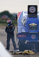 May 21, 2016; Topeka, KS, USA; NHRA funny car driver Robert Hight during qualifying for the Kansas Nationals at Heartland Park Topeka. Mandatory Credit: Mark J. Rebilas-USA TODAY Sports