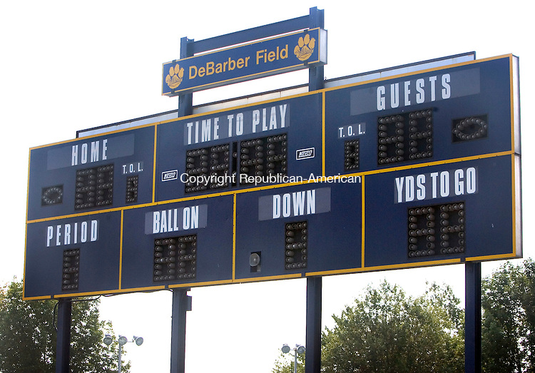 SEYMOUR CT. 17 August 2015-081815SV10-The scoreboard at Seymour High in Seymour Tuesday.<br /> Steven Valenti Republican-American