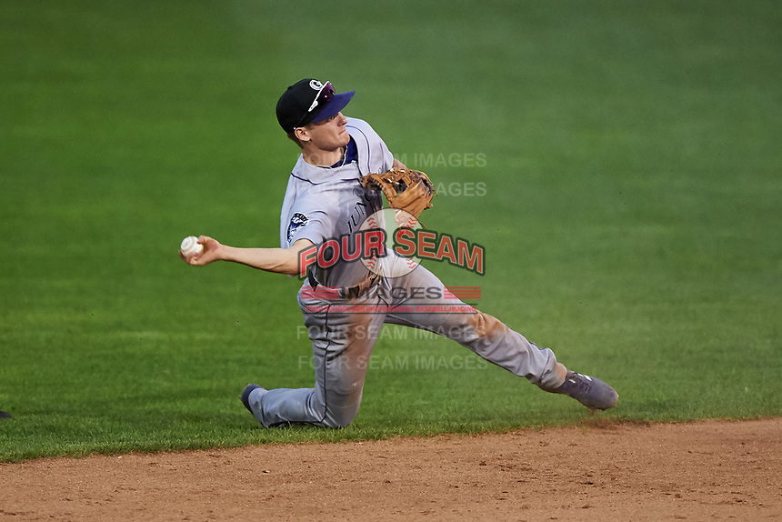 Grand Junction Rockies second baseman Turner Brown (31) throws to first base during a Pioneer League game against the Billings Mustangs at Dehler Park on August 14, 2019 in Billings, Montana. Grand Junction defeated Billings 8-5. (Zachary Lucy/Four Seam Images)