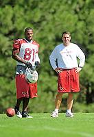 Jul. 31, 2009; Flagstaff, AZ, USA; Arizona Cardinals wide receivers coach John McNulty with wide receiver (81) Anquan Boldin during training camp on the campus of Northern Arizona University. Mandatory Credit: Mark J. Rebilas-