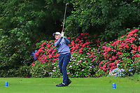 Ronan Mullarney (Galway) on the 9th tee during the Final of the Barton Shield in the AIG Cups & Shields Connacht Finals 2019 in Westport Golf Club, Westport, Co. Mayo on Saturday 10th August 2019.<br /> <br /> Picture:  Thos Caffrey / www.golffile.ie<br /> <br /> All photos usage must carry mandatory copyright credit (© Golffile | Thos Caffrey)