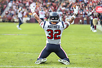 Landover, MD - November 18, 2018: Houston Texans free safety Tyrann Mathieu (32) celebrates after an interception during the  game between Houston Texans and Washington Redskins at FedEx Field in Landover, MD.   (Photo by Elliott Brown/Media Images International)