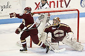 Alex Carpenter (BC - 5), Corinne Boyles (BC - 29) - The Northeastern University Huskies defeated Boston College Eagles 4-3 to repeat as Beanpot champions on Tuesday, February 12, 2013, at Matthews Arena in Boston, Massachusetts.