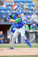 Lexington Legends Brhet Bewley (1) swings at a pitch during a game against the Asheville Tourists at McCormick Field on July 1, 2019 in Asheville, North Carolina. The Tourists defeated the Legends 9-8. (Tony Farlow/Four Seam Images)