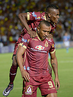 IBAGUE -COLOMBIA, 7-08-2016.Angelo Rodríguez  jugador deTolimacelebra su gol contra  Millonarios  durante encuentro  por la fecha 7 de la Liga Aguila II 2016 disputado en el estadio Manuel  Murillo Toro./ Angelo Rodriguez player of Tolima  celebrates his goal against of Millonarios  during match for the date 7 of the Aguila League II 2016 played at Mnauel  Murillo Toro stadium. Photo:VizzorImage / Juan Carlos Escobar Tagueno / Contribuidor