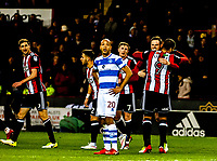 Sheffield United's forward Leon Clarke (9) hugs scorer Richard Stearman during the Sky Bet Championship match between Sheff United and Queens Park Rangers at Bramall Lane, Sheffield, England on 20 February 2018. Photo by Stephen Buckley / PRiME Media Images.