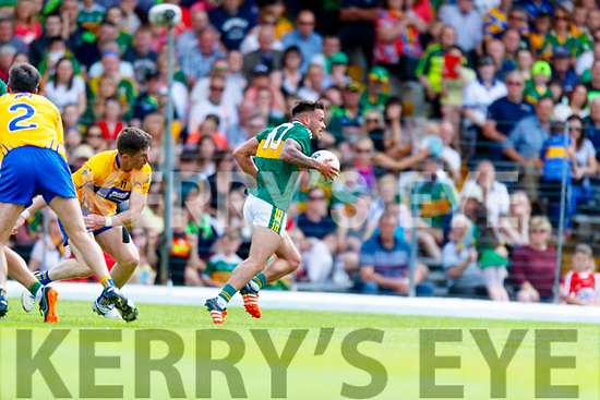 Micheál Burns Kerry in action against Eoin Cleary Clare during the Munster GAA Football Senior Championship semi-final match between Kerry and Clare at Fitzgerald Stadium in Killarney on Sunday.