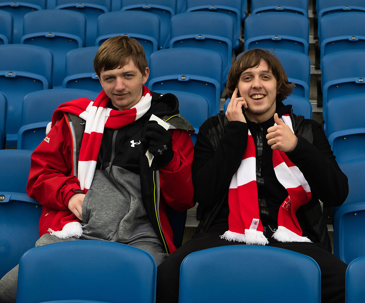 Liverpool fans <br /> <br /> Photographer David Horton/CameraSport<br /> <br /> The Premier League - Brighton and Hove Albion v Liverpool - Saturday 12th January 2019 - The Amex Stadium - Brighton<br /> <br /> World Copyright © 2018 CameraSport. All rights reserved. 43 Linden Ave. Countesthorpe. Leicester. England. LE8 5PG - Tel: +44 (0) 116 277 4147 - admin@camerasport.com - www.camerasport.com