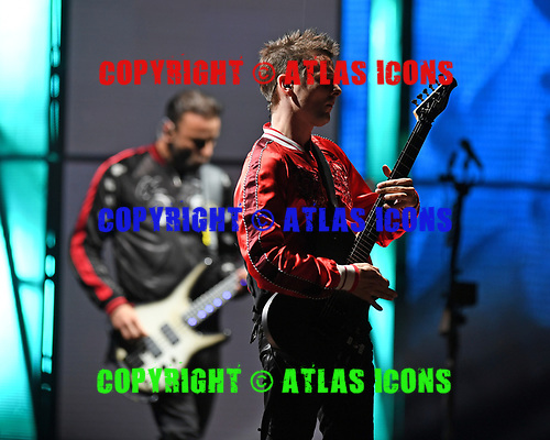 WEST PALM BEACH, FL - MAY 20: Bellamy and Chris Wolstenholme of Muse perform at The Perfect Vodka Amphitheater on May 20, 2017 in West Palm Beach Florida. Credit Larry Marano © 2017