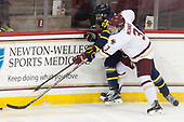 Mathieu Tibbet (Merrimack - 22), Luke McInnis (BC - 3) - The visiting Merrimack College Warriors defeated the Boston College Eagles 6 - 3 (EN) on Friday, February 10, 2017, at Kelley Rink in Conte Forum in Chestnut Hill, Massachusetts.