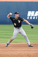 Luke Ritter (19) of the Wichita State Shockers makes a throw during a game against the Cal State Fullerton Titans at Goodwin Field on March 13, 2016 in Fullerton, California. Cal State Fullerton defeated Wichita State, 7-1. (Larry Goren/Four Seam Images)