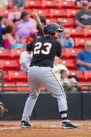 Brent Tanner (23) of the Kannapolis Intimidators at bat against the Hickory Crawdads at L.P. Frans Stadium on May 25, 2013 in Hickory, North Carolina.  The Crawdads defeated the Intimidators 14-3.  (Brian Westerholt/Four Seam Images)