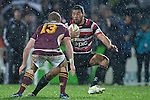 Siale Piutau tries to run around Kendrick Lynn during the ITM Cup Round 4 and Ranfurly Shield rugby game between Counties Manukau Steelers and Southland, played at Rugby Park Invercargill, on Friday July 29th 2011..Southland won the game 22 - 14 after leading 13 - 6 at halftime.