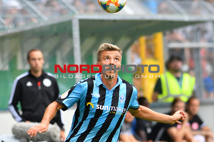 11.08.2019, Carl-Benz-Stadion, Mannheim, GER, DFB Pokal, 1. Runde, SV Waldhof Mannheim vs. Eintracht Frankfurt, <br /> <br /> DFL REGULATIONS PROHIBIT ANY USE OF PHOTOGRAPHS AS IMAGE SEQUENCES AND/OR QUASI-VIDEO.<br /> <br /> im Bild: Maurice Deville (SV Waldhof Mannheim #14)<br /> <br /> Foto © nordphoto / Fabisch
