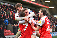 Fleetwood Town's Ashley Hunter celebrates scoring his side's second goal with team-mates Ched Evans and  Ashley Nadesan<br /> <br /> Photographer Richard Martin-Roberts/CameraSport<br /> <br /> The EFL Sky Bet League One - Fleetwood Town v Plymouth Argyle - Saturday 16th March 2019 - Highbury Stadium - Fleetwood<br /> <br /> World Copyright © 2019 CameraSport. All rights reserved. 43 Linden Ave. Countesthorpe. Leicester. England. LE8 5PG - Tel: +44 (0) 116 277 4147 - admin@camerasport.com - www.camerasport.com